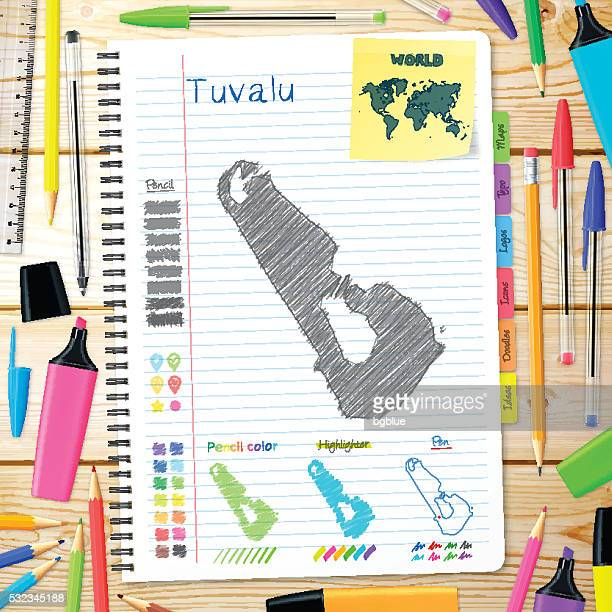 tuvalu maps hand drawn on notebook. wooden background - tuvalu stock illustrations, clip art, cartoons, & icons