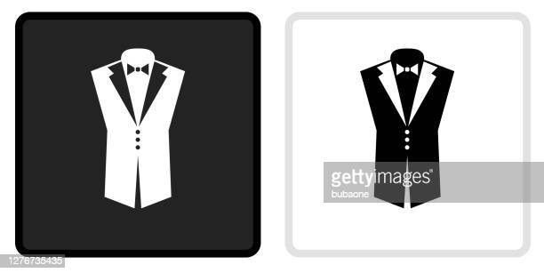白いロールオーバーの黒いボタンのタキシードアイコン - タキシード点のイラスト素材/クリップアート素材/マンガ素材/アイコン素材