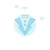 Tuxedo, Jacket Flat Vector Illustration, Icon. Light Blue Monochrome Design. Editable Stroke