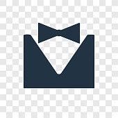 Tuxedo vector icon isolated on transparent background, Tuxedo transparency logo design