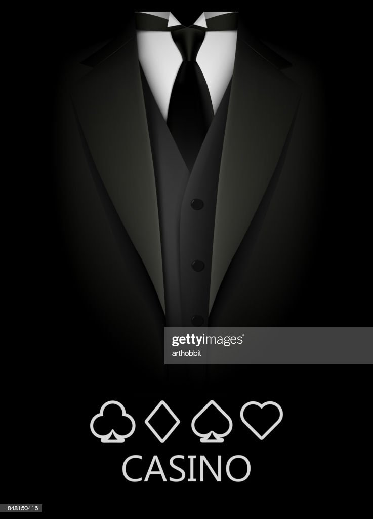 Tuxedo with suit of cards background. Casino concept. Elite poker club.