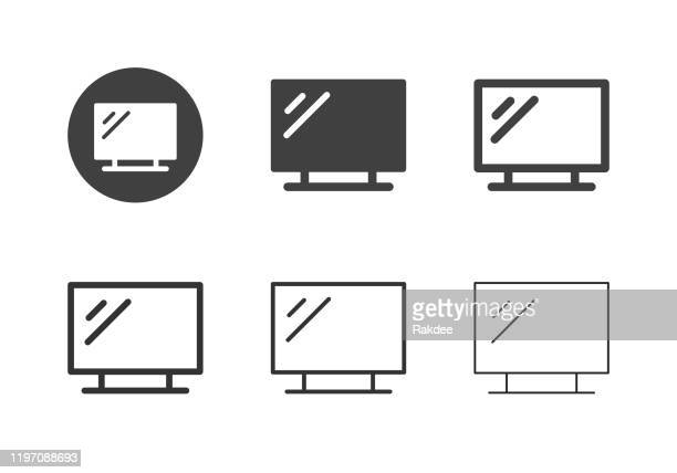 led tv icons - multi series - high definition television television set stock illustrations