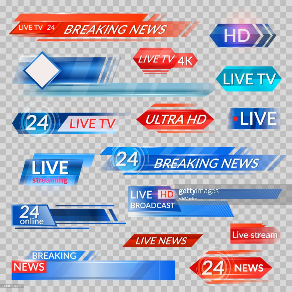 Tv news and streaming video banners
