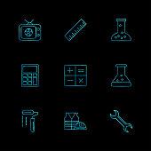 Tv , scale , beaker ,calculator , maths , chemical flask , paint roller , uniform , wrench , 9 eps icons set vetor