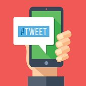 Tweet message on smartphone screen. Hand holding smartphone. Reading or writing tweet on mobile device. Modern flat design vector illustration