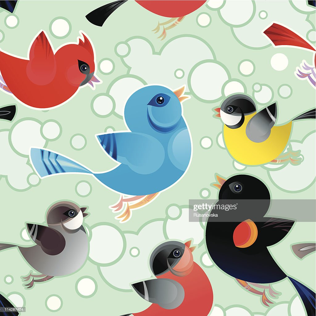 Tweetering Birds Pattern