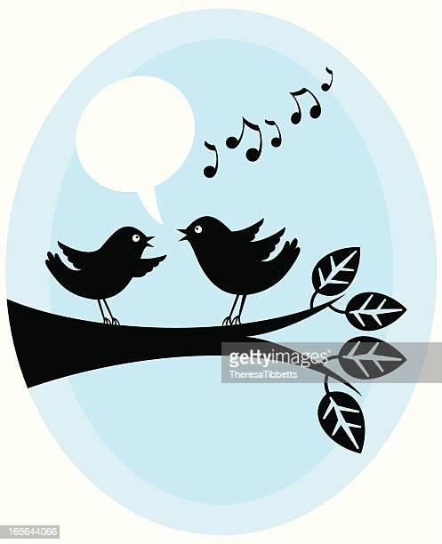 ilustrações de stock, clip art, desenhos animados e ícones de a twittar aves - canto de passarinho