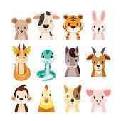 Twelve Animals Chinese Zodiac Signs Icons Set