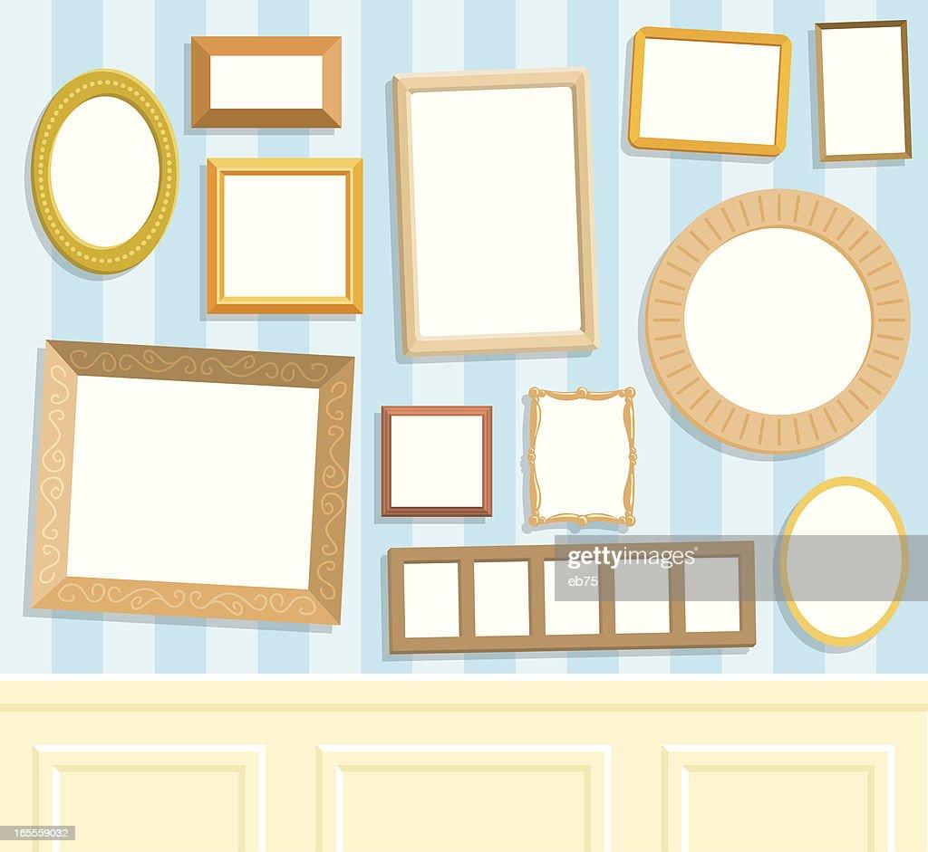 Twelve blank frames on a wall : stock illustration