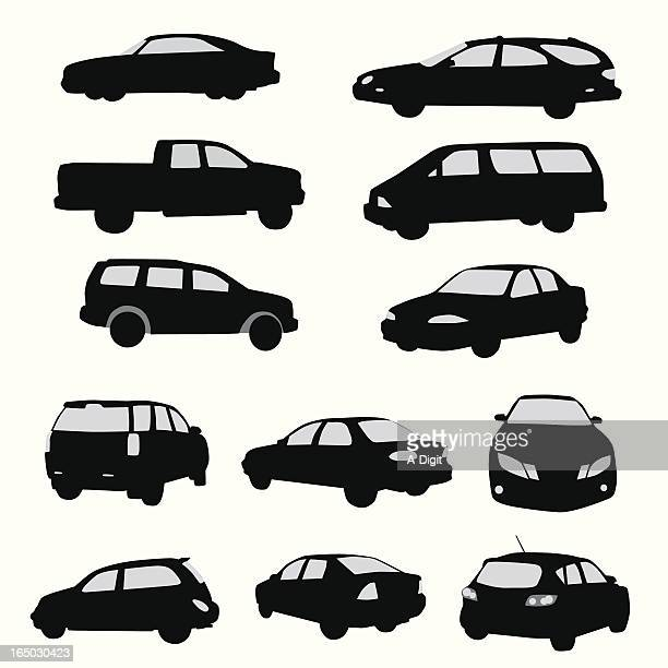 twelve car collection vector silhouette - suv stock illustrations, clip art, cartoons, & icons