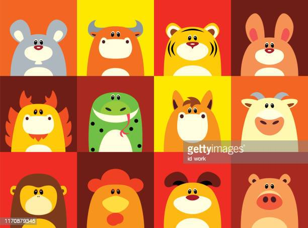 twelve chinese zodiac animals - year of the ox stock illustrations