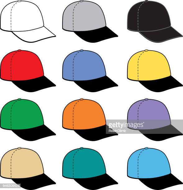 twelve colorful baseball caps icon - cap hat stock illustrations, clip art, cartoons, & icons