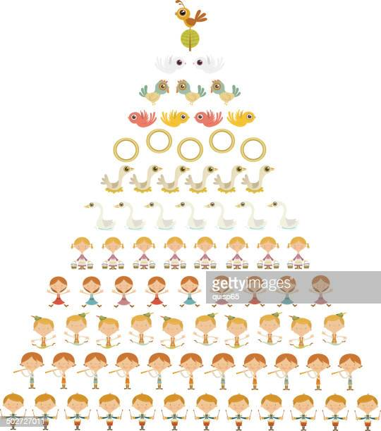 twelve days of christmas - seventh day of christmas stock illustrations