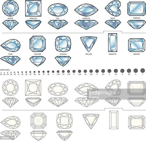 stockillustraties, clipart, cartoons en iconen met twelve diamond shapes - diamant