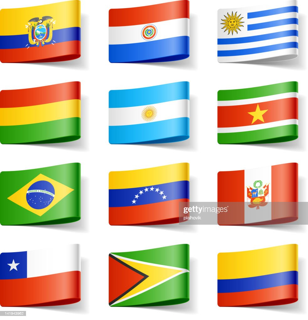 Twelve different flags of South America