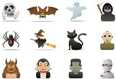 Twelve different Halloween icons