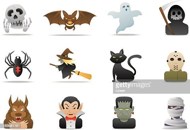 ilustrações de stock, clip art, desenhos animados e ícones de dia das bruxas ícones/série premium matte - lobisomem