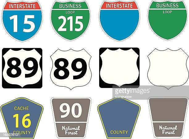 twelve different highway signs - thoroughfare stock illustrations, clip art, cartoons, & icons