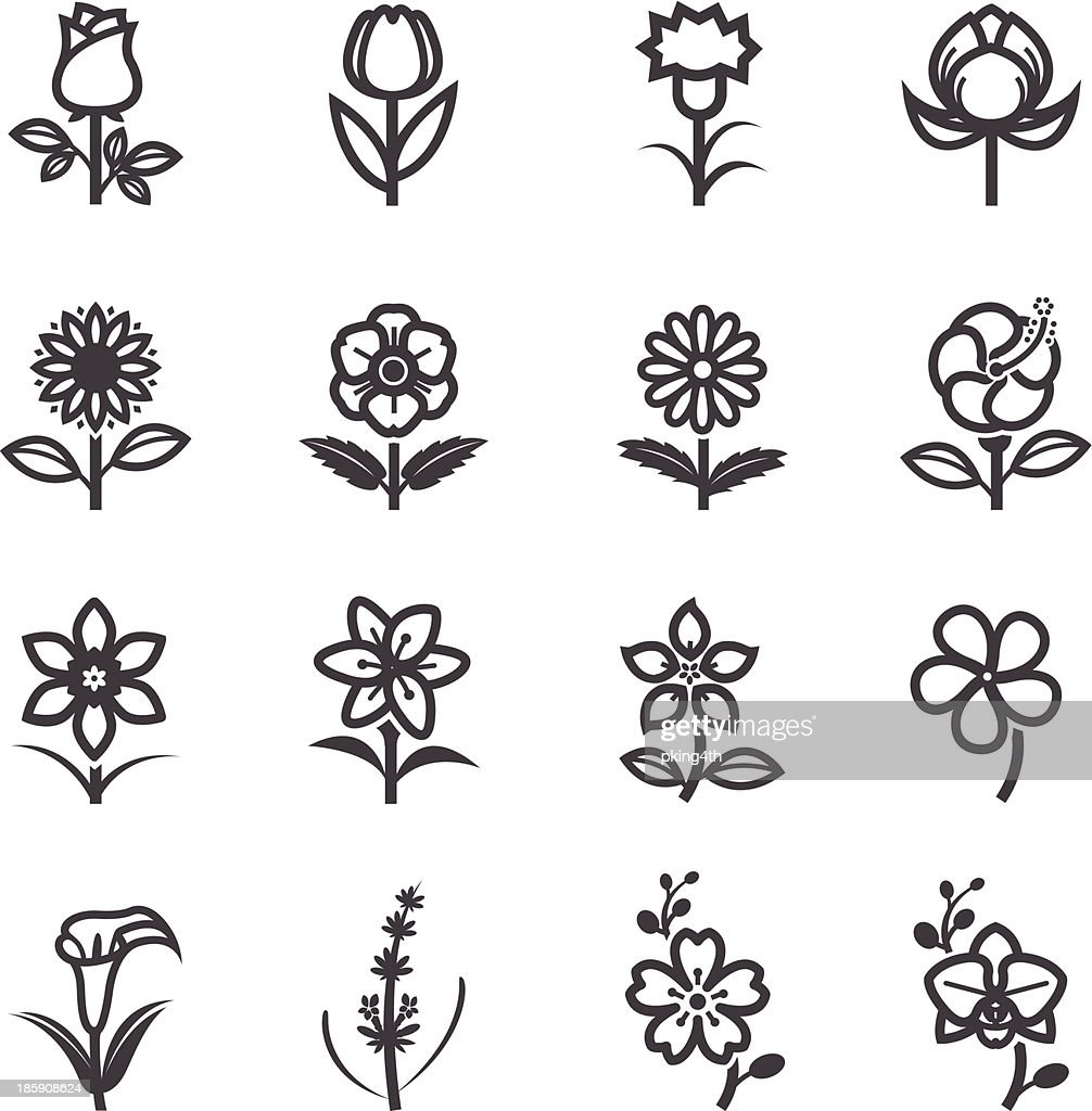 Twelve floral icons in black and white