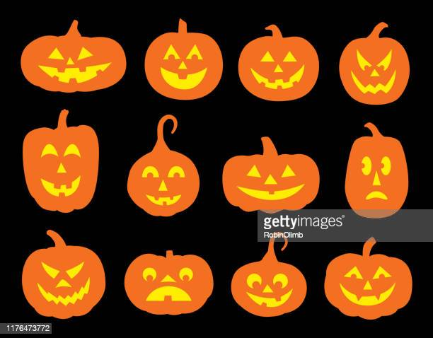 twelve halloween pumpkin faces - anthropomorphic foods stock illustrations, clip art, cartoons, & icons