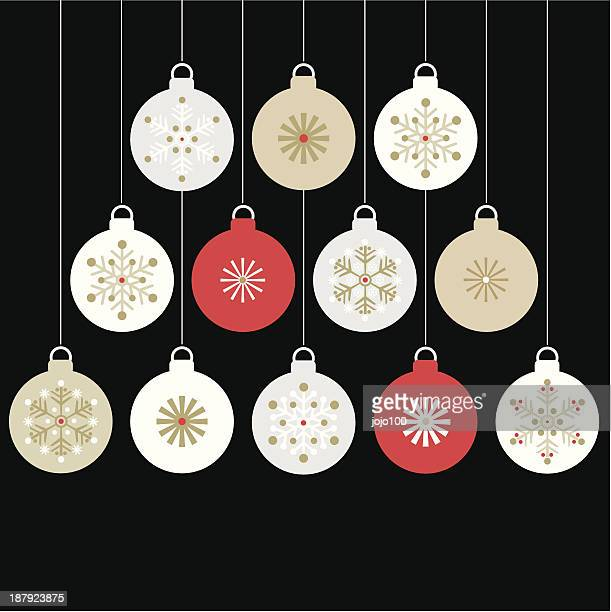 Twelve Hanging Christmas Baubles.
