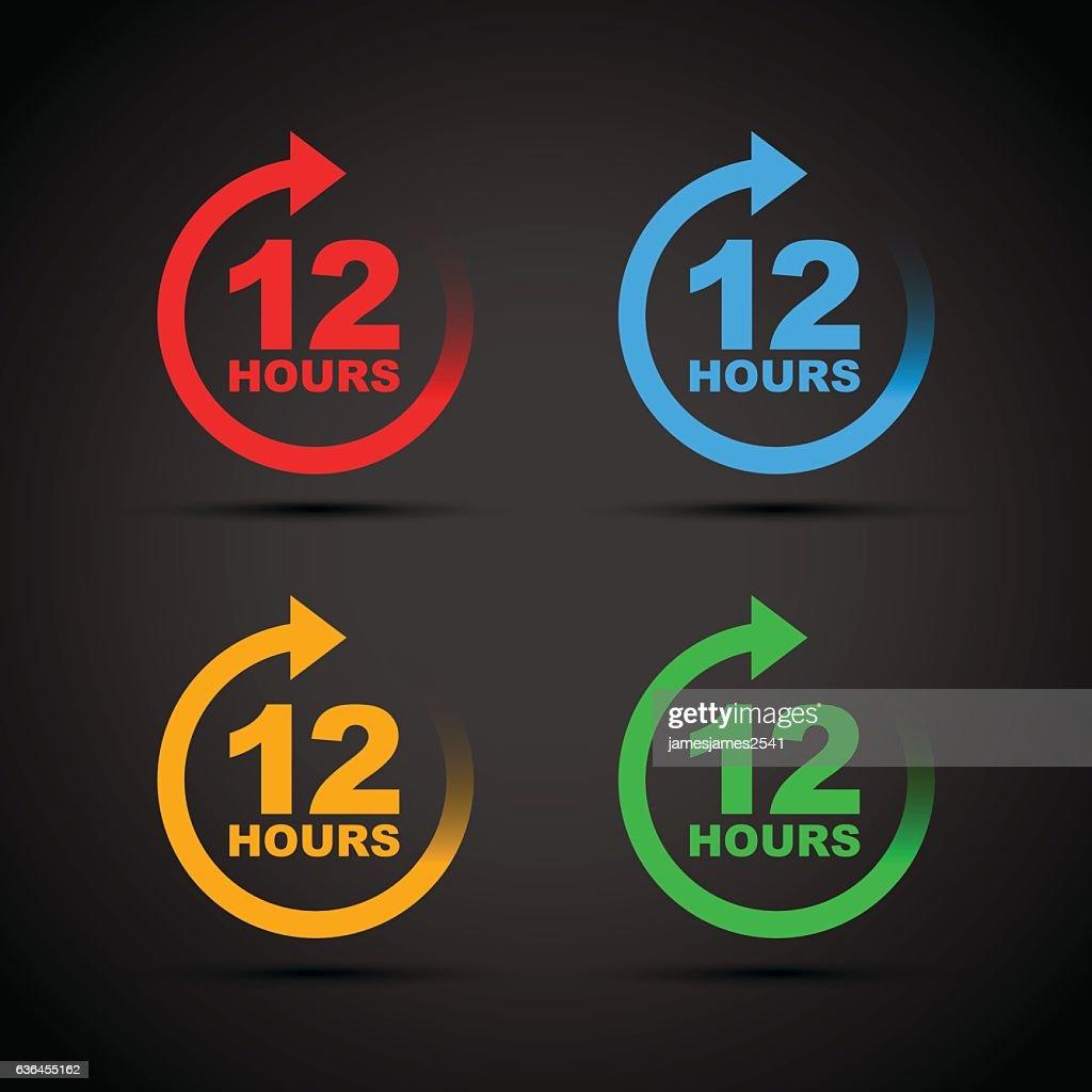 twelve hour icon set