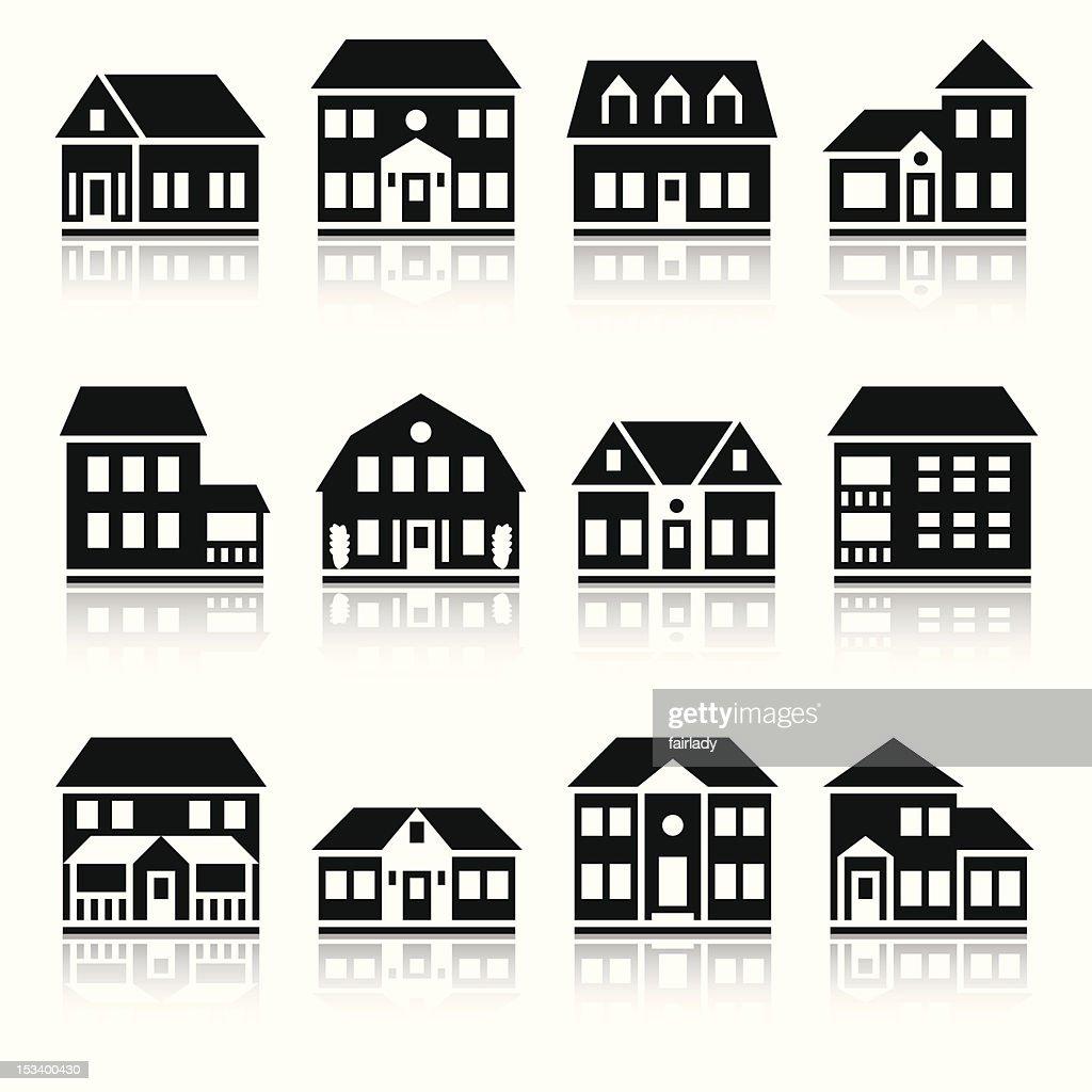Twelve house silhouettes