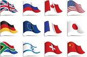 Twelve illustrations of world flags