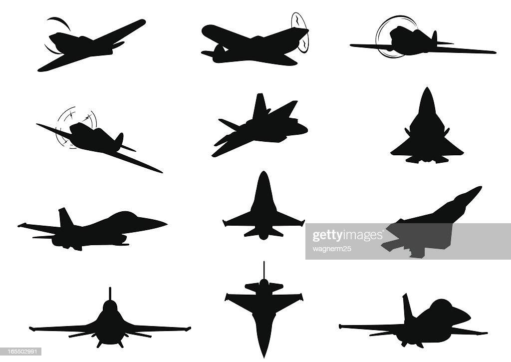 Twelve planes silhouettes