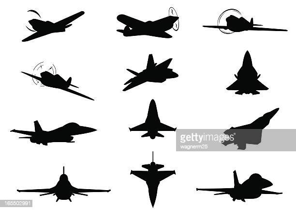 twelve planes silhouettes - marines military stock illustrations, clip art, cartoons, & icons