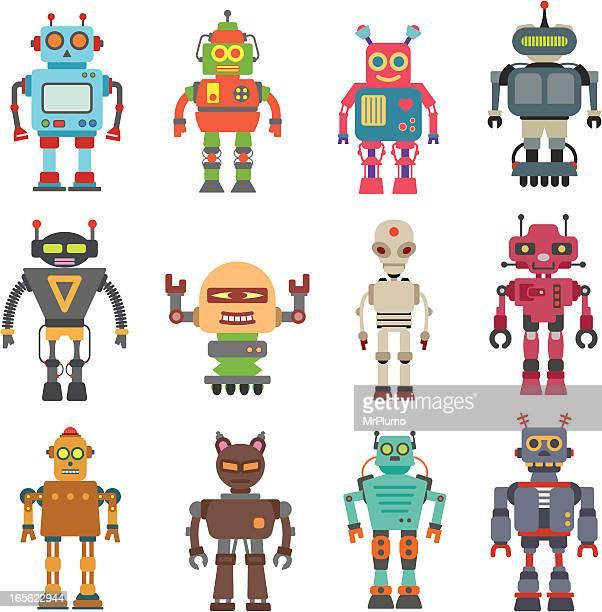 ilustraciones, imágenes clip art, dibujos animados e iconos de stock de de doce robot - robot