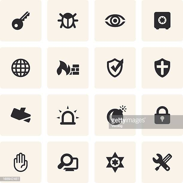 Twelve security icons in black on a cream background