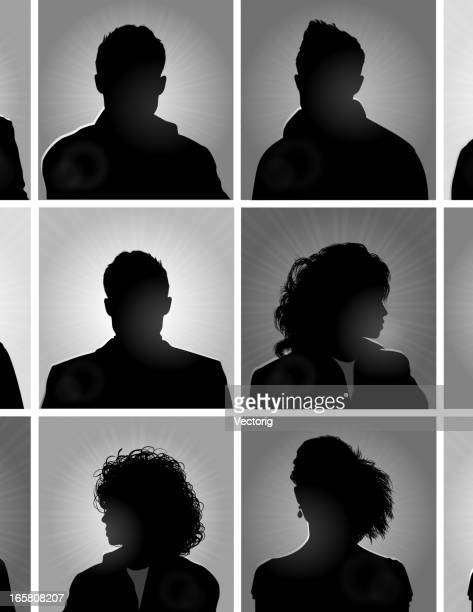 Twelve silhouettes of people in boxes