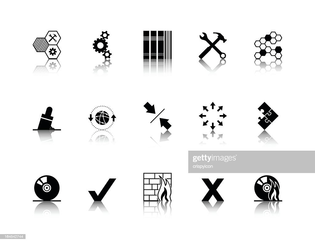 Twelve software icons in black on a white background