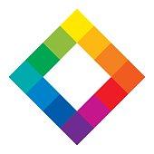 Twelve unique color hues of color wheel, square shape