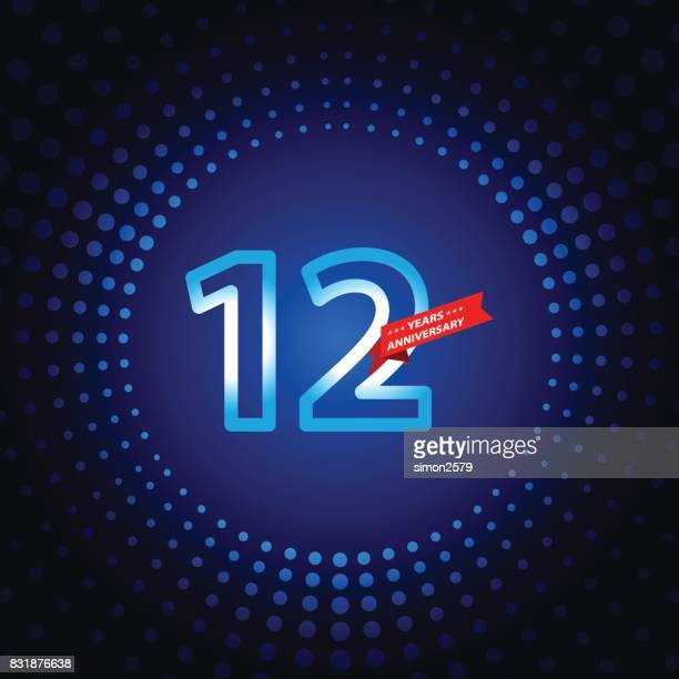 twelve years anniversary icon with blue color background - 12 13 years stock illustrations