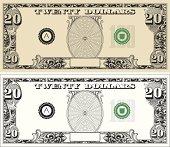 twenty 20 Dollar Bill with text