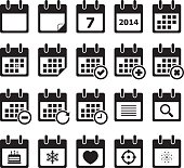 Twenty calendar black and white icons