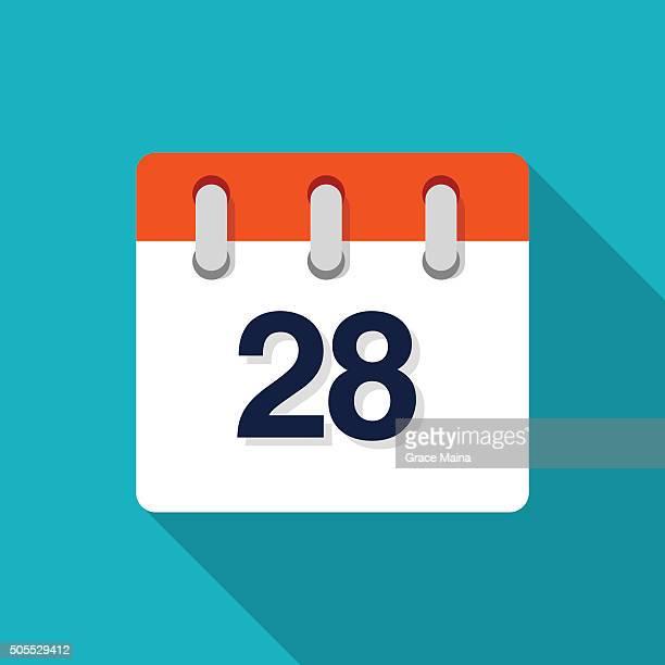 twenty eighth flat design calendar icon - vector - 25 29 years stock illustrations