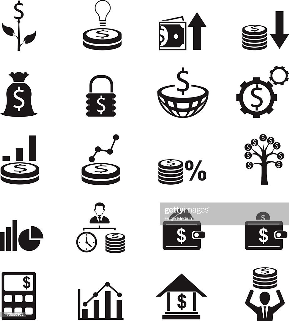 Twenty finance related icons in black on a white background