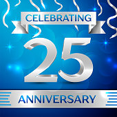Twenty five 25 Years Anniversary Celebration Design. Confetti and silver ribbon on blue background. Colorful Vector template elements for your birthday party. Anniversary ribbon