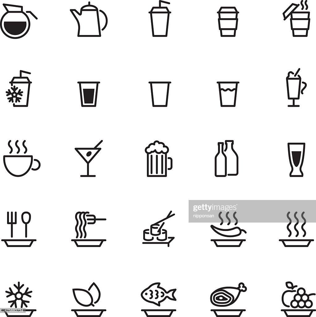 twenty five black food icons isolated on white