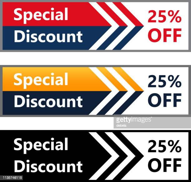 Twenty Five Percent Off Special Discount Price Offer Web Banner Collection