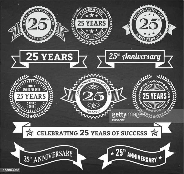 twenty five year anniversary hand-drawn chalkboard royalty free vector background