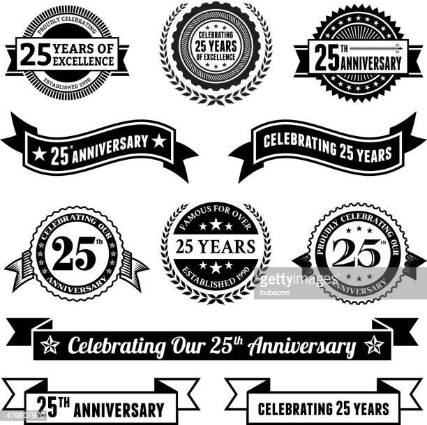 stockillustraties, clipart, cartoons en iconen met twenty five year anniversary vector badge set royalty free background - 25 29 jaar