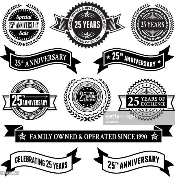 twenty five year anniversary vector badge set vector background - 25 29 years stock illustrations