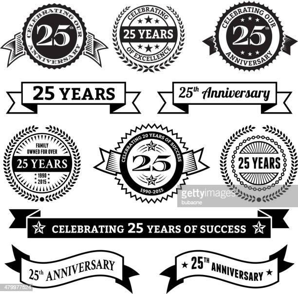 25 jahre jubiläum vektor-abzeichen-set, vektor-hintergrund - 25 29 jahre stock-grafiken, -clipart, -cartoons und -symbole