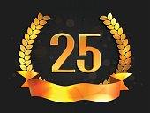 Twenty five years anniversary banner. 25th anniversary logo with ribbon.
