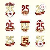 Twenty five years anniversary celebration logotype. 25th anniversary logo collection.