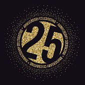 Twenty five years anniversary celebration logotype. 25th anniversary golden logo.